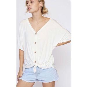 Tops - Oversized Button Front Top Summer Tie Waist Shirt